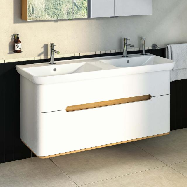 VitrA Sento Doppelwaschtisch mit Waschtischunterschrank mit 2 Auszügen Front weiß matt / Korpus weiß matt/eiche