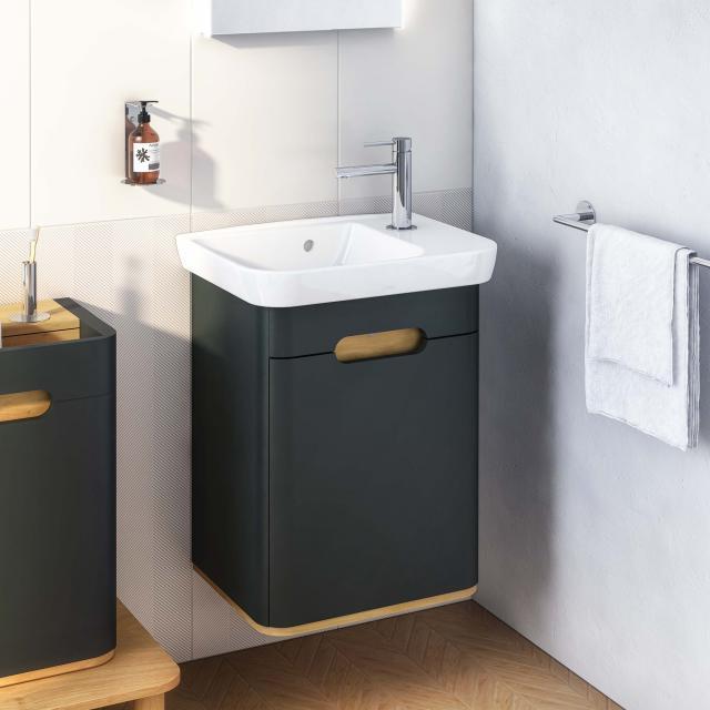 VitrA Sento Handwaschbecken mit Waschtischunterschrank mit 1 Tür Front anthrazit matt / Korpus anthrazit matt/eiche