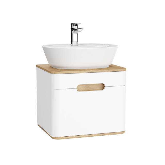 VitrA Sento LED-Waschtischunterschrank für Aufsatzwaschtisch mit 1 Auszug Front weiß matt / Korpus weiß matt/eiche