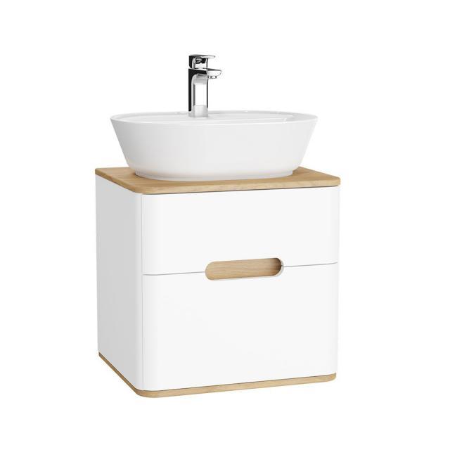 VitrA Sento LED-Waschtischunterschrank für Aufsatzwaschtisch mit 2 Auszügen Front weiß matt / Korpus weiß matt/eiche