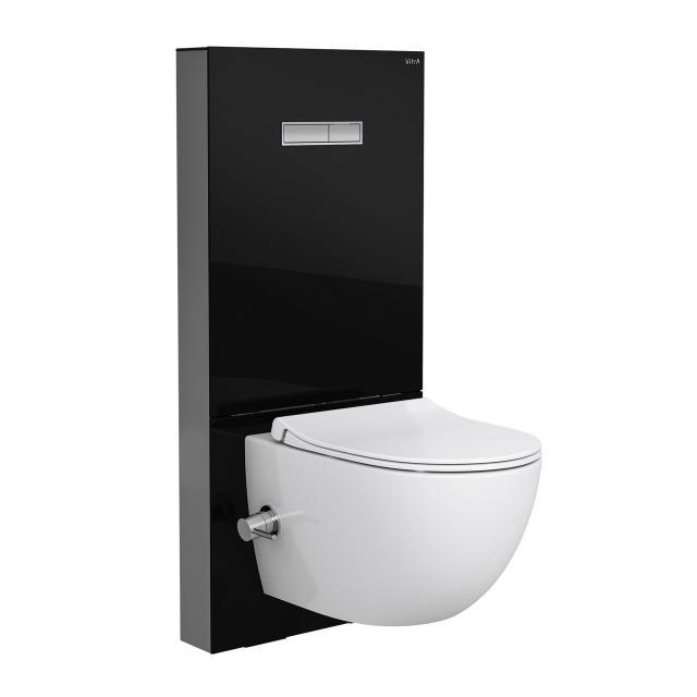 VitrA Sento Wand-Tiefspül-WC mit Bidetfunktion ohne Spülrand, mit Stand-Spülkasten mit integierter Thermostat-Armatur, Spülkasten in schwarz