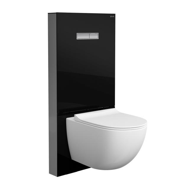 VitrA Sento Wand-Tiefspül-WC ohne Spülrand, mit Stand-Spülkasten, mit WC-Sitz weiß/schwarz, mit VitrAclean und VitrAhygiene