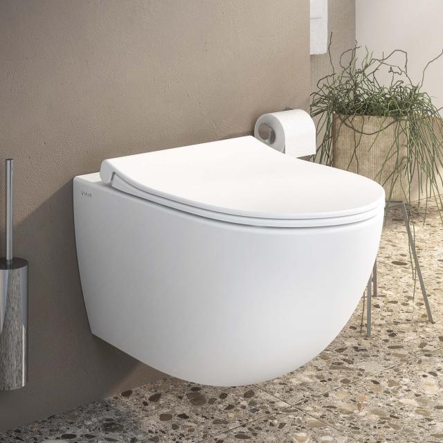 VitrA Sento Wand-Tiefspül-WC VitrAFlush 2.0, mit WC-Sitz edelweiß