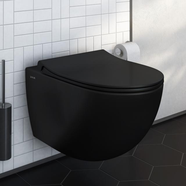 VitrA Sento Wand-Tiefspül-WC VitrAFlush 2.0, mit WC-Sitz schwarz matt