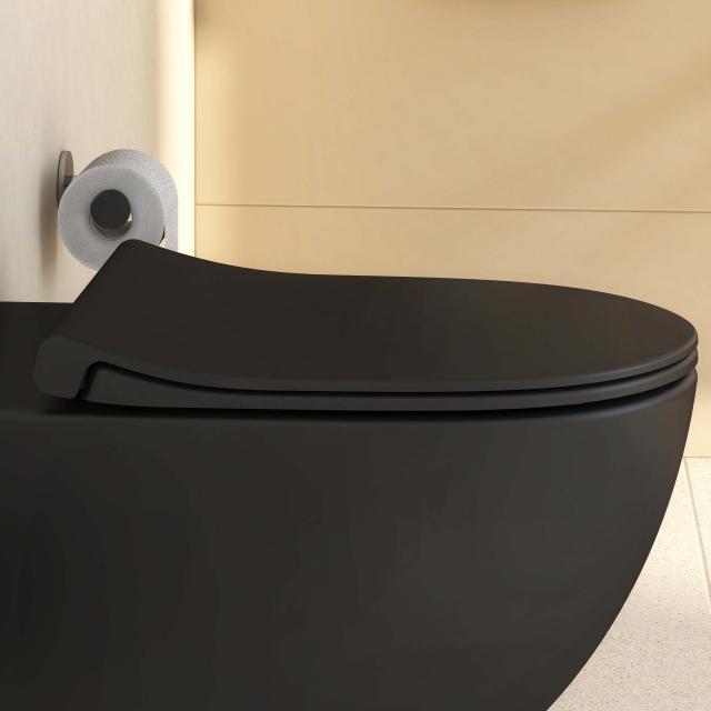 VitrA Sento WC-Sitz Slim, Sandwichform, mit Absenkautomatik & abnehmbar schwarz matt
