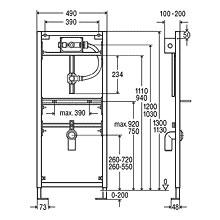 Viega Eco Plus-Urinal-Element, H: 113 cm, mit UP-Spülsystem H 113 x B 49/39 x T 10/20 cm