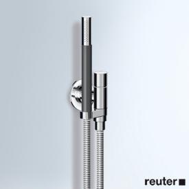 Vola 070 Wandanschlussbogen komplett mit Handbrause T2 links, mit Metallgliederschlauch chrom
