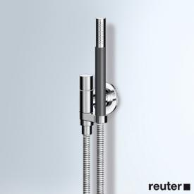 Vola 070 Wandanschlussbogen komplett mit Handbrause T2 rechts, mit Metallgliederschlauch chrom