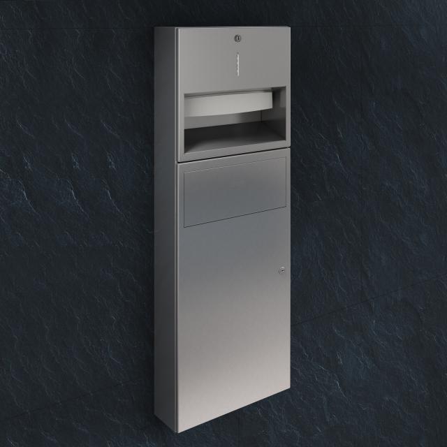 Wagner-Ewar A-Linie Kombination Papierspender und Abfallbehälter edelstahl gebürstet