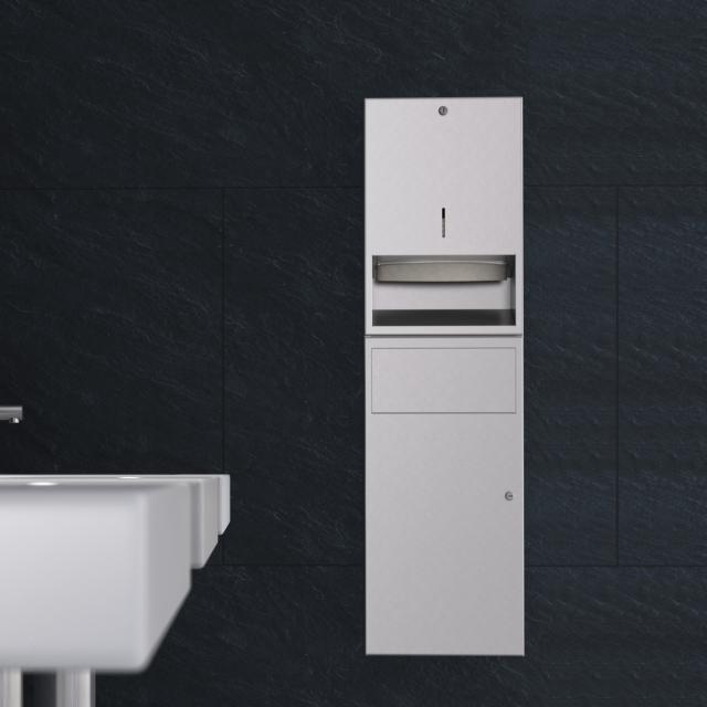 Wagner-Ewar A-Linie Unterputz Kombination Papierspender und Abfallbehälter edelstahl gebürstet