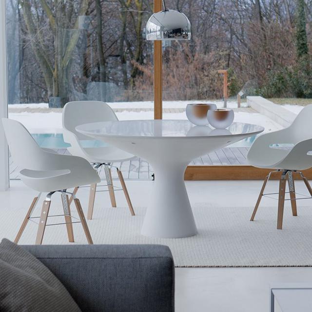 Zanotta Blanco Esstisch mit Glasplatte