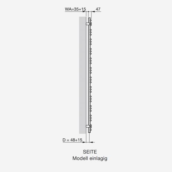 Zehnder Yucca Asym Badheizkörper für rein elektrischen Betrieb weiß, 300 Watt, einlagig, rechts