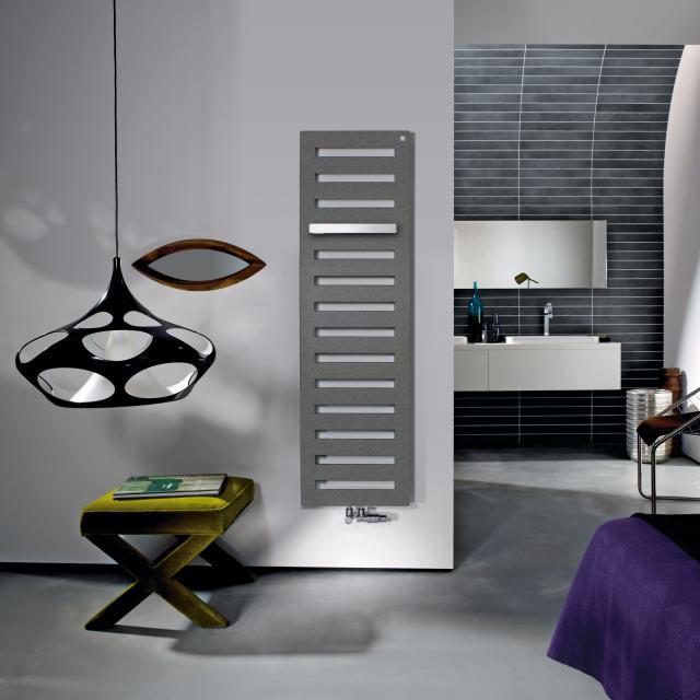 Zehnder Metropolitan Bar Badheizkörper für Warmwasserbetrieb grau aluminium, 582 Watt, normale Ausführung