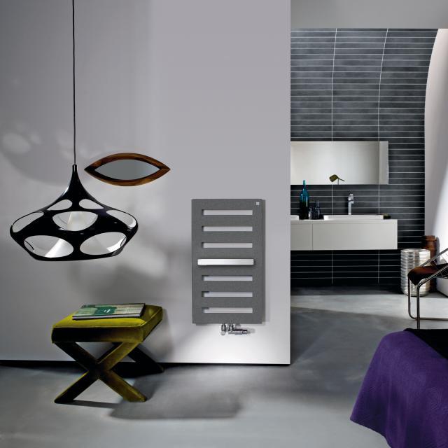Zehnder Metropolitan Bar Badheizkörper für Warmwasserbetrieb grau aluminium, 323 Watt, normale Ausführung