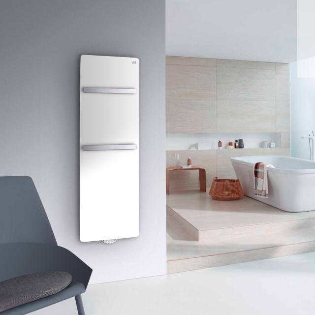 Zehnder Vitalo Bar Badheizkörper mit EasyFit Anschlussbox für Warmwasserbetrieb weiß, 676 Watt