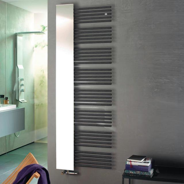 Zehnder Yucca Mirror Badheizkörper mit Spiegel für Warmwasser- oder Mischbetrieb volcanic, 755 Watt
