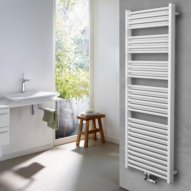 Zehnder Zeno Badheizkörper für Warmwasser- oder Mischbetrieb weiß, mit Mittelanschluss, doppellagig, 2130 Watt