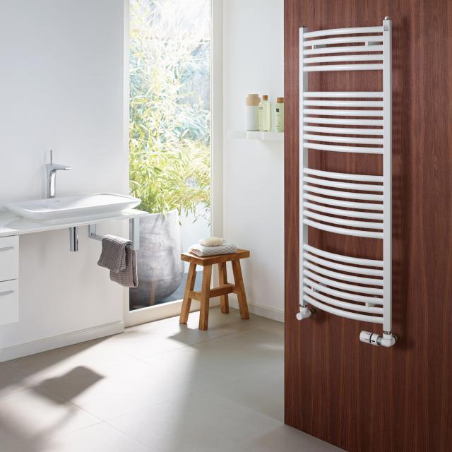 Zehnder Zeno Bow Badheizkörper für Warmwasser- oder Mischbetrieb weiß, mit Standardanschluss, 377 Watt