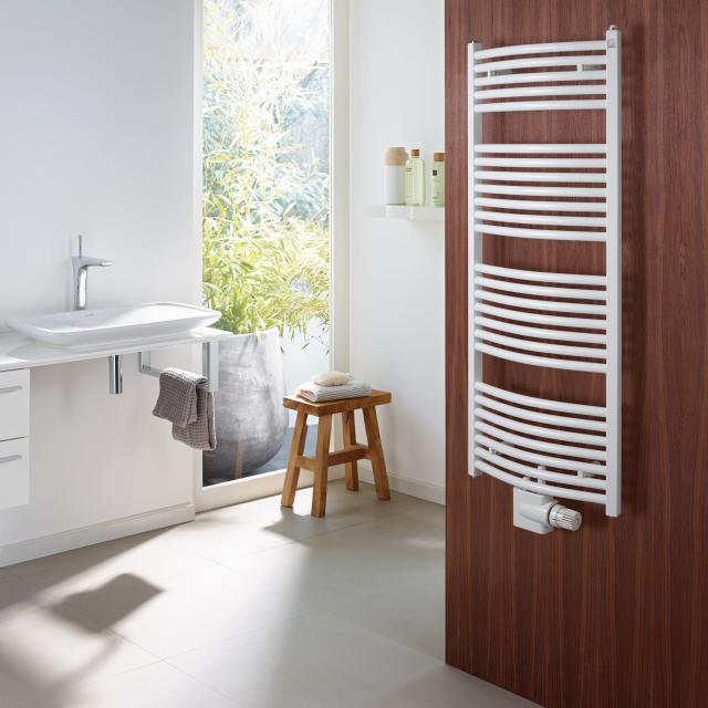 Zehnder Zeno Bow Badheizkörper für Warmwasser- oder Mischbetrieb weiß, mit Mittelanschluss, 667 Watt