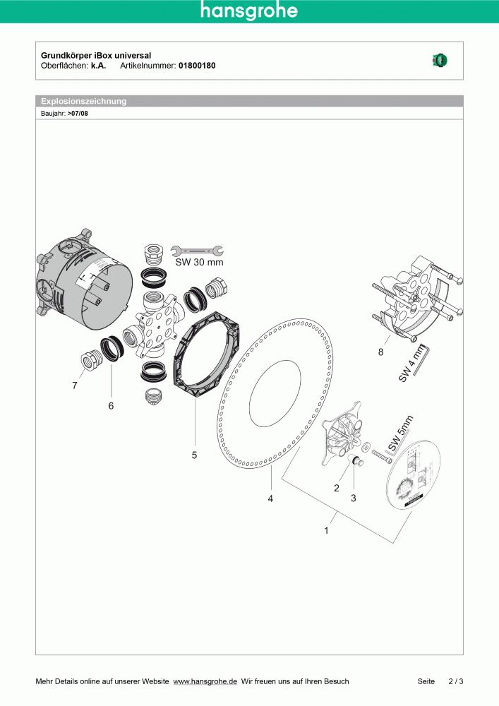 Extrem Hansgrohe iBox universal Grundkörper ohne Vorabsperrung - 01800180 OV45