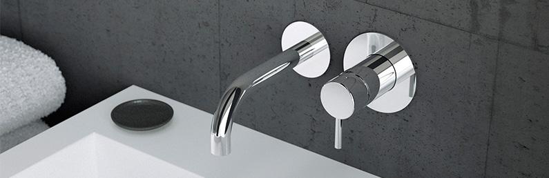 Chrom Weiße Unterputz Waschbecken Wasserhahn Waschtischarmatur zur Wandmontage
